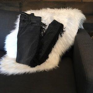 Grey-black fringed retro-yeehaw jean pant